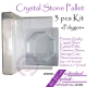 Crystal Glass Stone Glue Holder Pallet 3pcs Kit Polygon Shaped