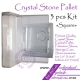 Crystal Glass Stone Glue Holder Pallet 3 pcs Kit Square Shaped